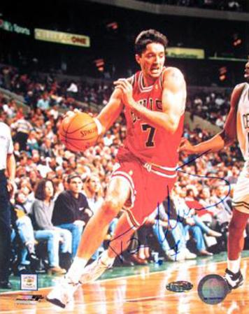 Toni Kukoc Chicago Bulls Red Jersey Vertical