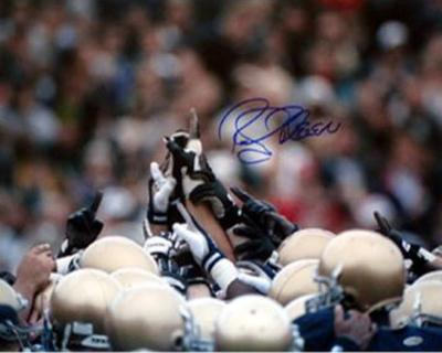 Rocky Bleier Notre Dame Players Pointing in Air Autographed Photo (Hand Signed Collectable)