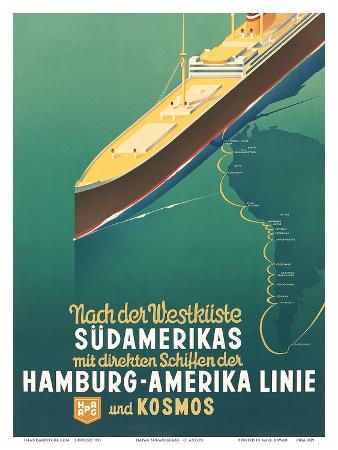 Hamburg America Line: HAPAG Nach der Westküste Südamerikas, c.1930s