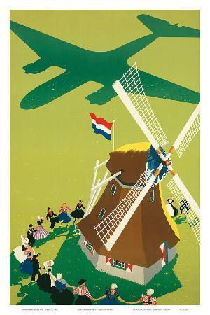 KLM Royal Dutch Airlines: Holland Windmill, c.1945