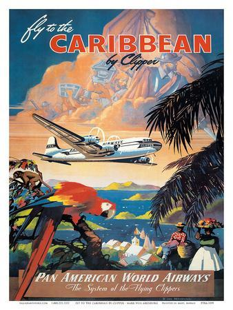 Pan American: Fly to the Caribbean by Clipper, c.1940s