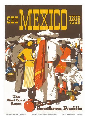 Southern Pacific Railroad: See Mexico This Year, c.1935