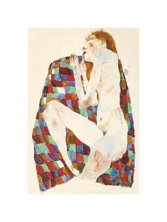 Female Nude on Coloured Blanket, c.1911