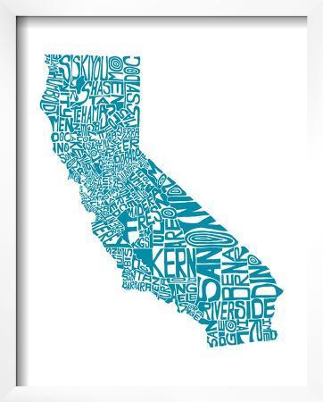 Typographic California Teal