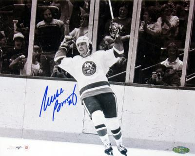 Mike Bossy Arms Raised B/W Autographed Photo (Hand Signed Collectable)