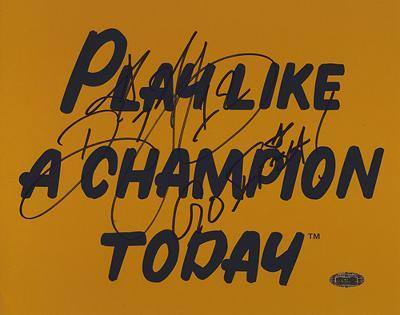 "Ricky Watters Play Like A Champion Today w/ ""Go Irish""  Autographed Photo (Hand Signed Collectable)"