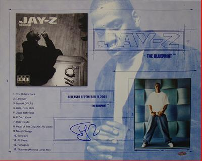 Jay Z Blue Print Collage Autographed Music Photo (Hand Signed Collectable)