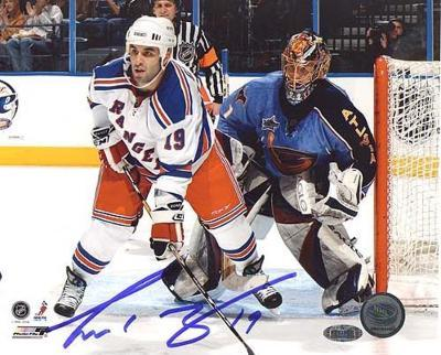 Scott Gomez Screening Goalie Autographed Photo (Hand Signed Collectable)