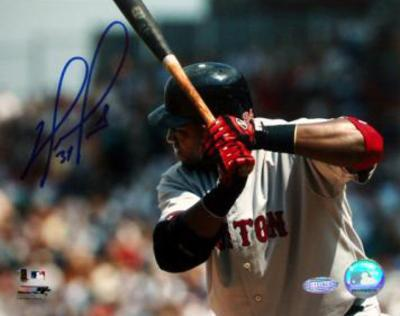 David Ortiz Close Up Away Batting Autographed Photo (Hand Signed Collectable)