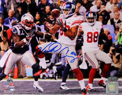 Victor Cruz Signed Super Bowl XLVI Touchdown Horizontal Photo
