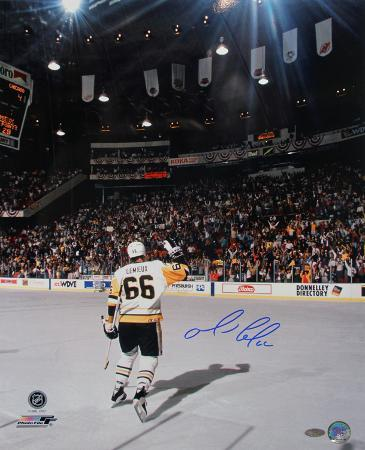 Mario Lemieux Skating Towards Crowd Autographed Photo (Hand Signed Collectable)