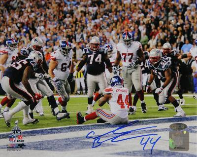 Ahmad Bradshaw Signed Super Bowl XLVI Touchdown View From Behind Horizontal Photo