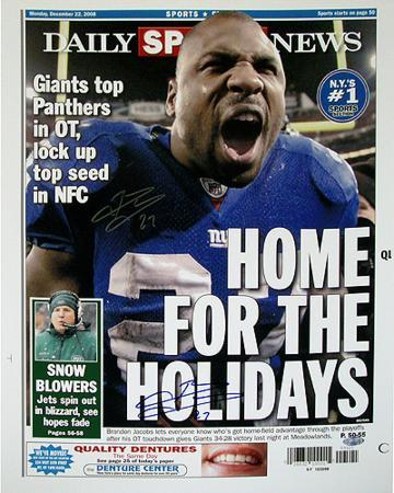 """Brandon Jacobs Daily News """"Home for the Holidays"""" Autographed Photo (Hand Signed Collectable)"""
