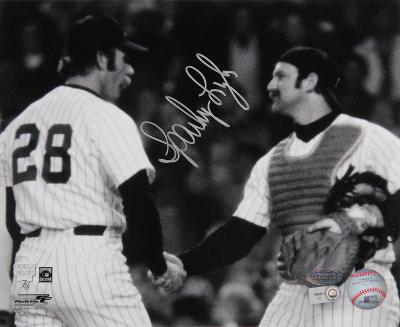 Sparky Lyle Handshake with Thurman Munson Autographed Photo (Hand Signed Collectable)