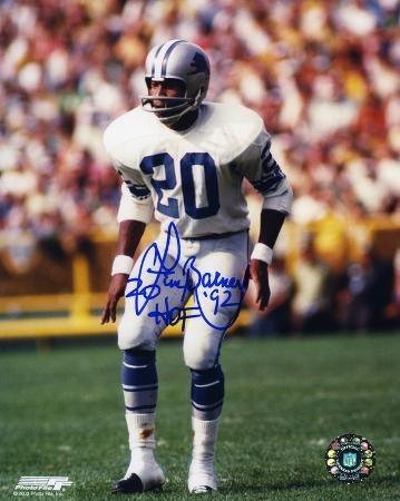 Lem Barney Detroit Lions Action with HOF 92 Inscription Autographed Photo (Hand Signed Collectable)