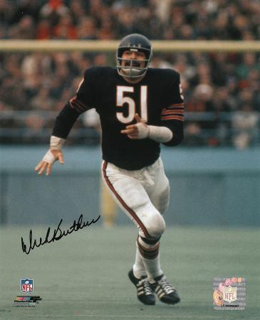 Dick Butkus Chicago Bears - Running in Blue Jersey Autographed Photo (Hand Signed Collectable)