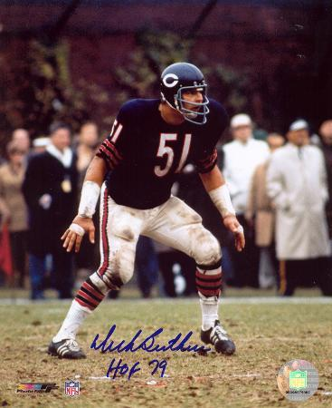 Dick Butkus Chicago Bears - Defensive Stance with HOF 79 Autographed Photo (H& Signed Collectable)