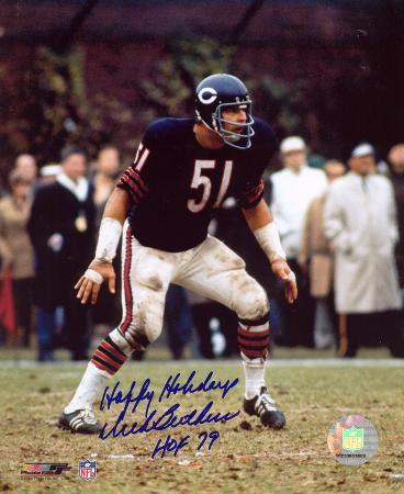 Dick Butkus Chicago Bears with Happy Holidays & HOF 79 s Autographed Photo (H& Signed Collectable)