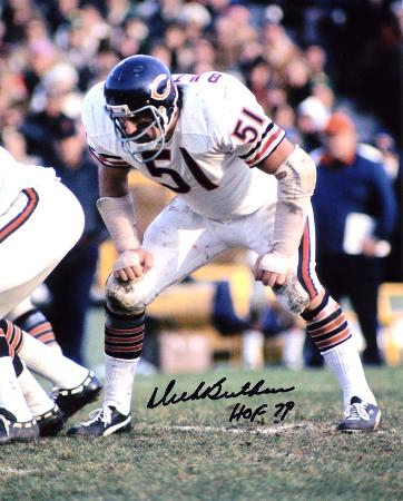 Dick Butkus Chicago Bears -In Stance- with HOF 79  Autographed Photo (Hand Signed Collectable)