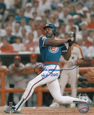 Andre Dawson Chicago Cubs with HOF 2010 Inscription Autographed Photo (Hand Signed Collectable)