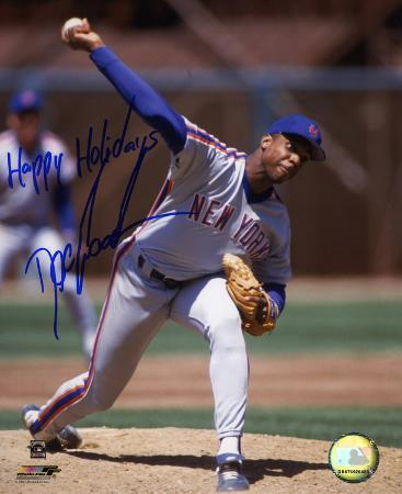 """Dwight """"Doc"""" Gooden NY Mets Pitching """"Happy Holidays"""" Autographed Photo (Hand Signed Collectable)"""
