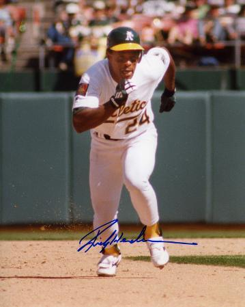 Rickey Henderson Oakland Athletics - Running Autographed Photo (Hand Signed Collectable)