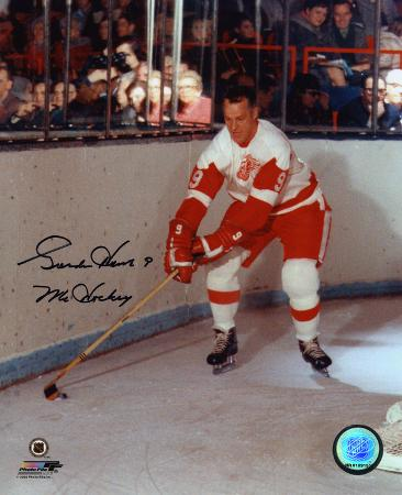 Gordie Howe Detroit Red Wings with Mr. Hockey 9  Autographed Photo (Hand Signed Collectable)