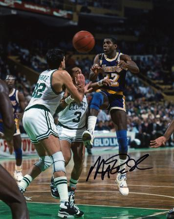 Magic Johnson Los Angeles Lakers vs. Boston Celtics Autographed Photo (Hand Signed Collectable)