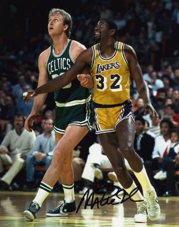 Magic Johnson Los Angeles Lakers with Larry Bird