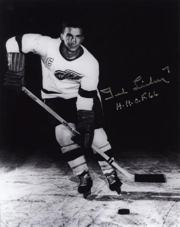 """Ted Lindsay Detroit Red Wings with """"H.H.O.F. 66""""  Autographed Photo (Hand Signed Collectable)"""