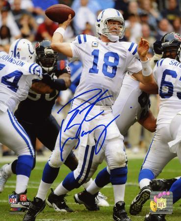 Peyton Manning Colts Home Run Win vs. Texans Autographed Photo (Hand Signed Collectable)