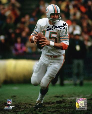 Earl Morrall Miami Dolphins with 72 17-0 Inscription Autographed Photo (Hand Signed Collectable)