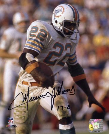 Mercury Morris Miami Dolphins with 17-0 Inscription Autographed Photo (Hand Signed Collectable)