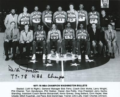 Dick Motta Washington Bullets with 77-78 NBA Champs  Autographed Photo (Hand Signed Collectable)