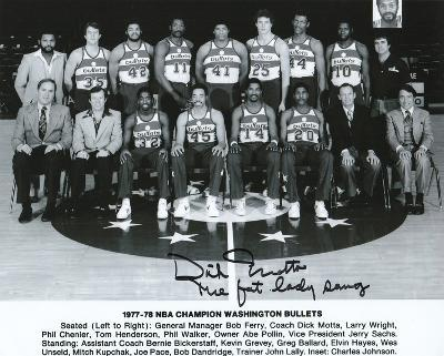 Dick Motta Washington Bullets with The Fat Lady Sang  Autographed Photo (Hand Signed Collectable)