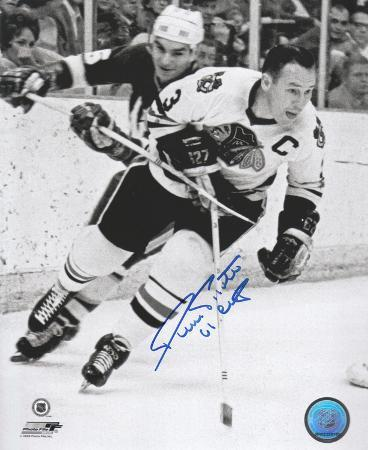 Pierre Pilote Chicago Blackhawks with 61 Stanley Cup  Autographed Photo (Hand Signed Collectable)