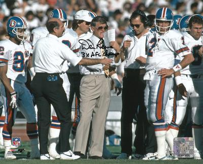 Dan Reeves Denver Broncos - With Elway with 3x AFC Champs Autographed Photo (H& Signed Collectable)