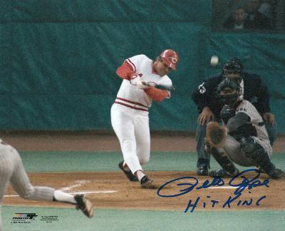 """Pete Rose Cincinnati Reds Record Breaking """"Hit King"""" Autographed Photo (Hand Signed Collectable)"""