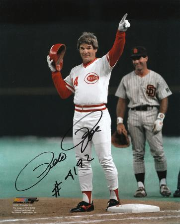 Pete Rose Cincinnati Reds 4192nd Hit Autographed Photo (Hand Signed Collectable)