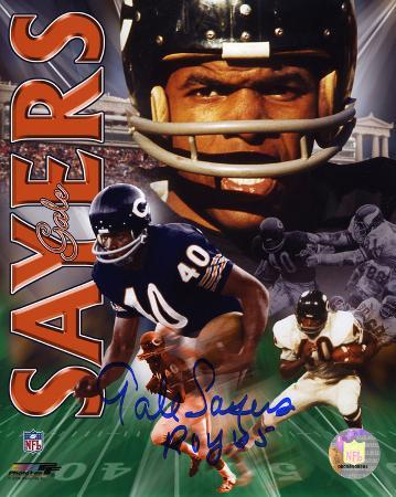 Gale Sayers Chicago Bears - Collage with 1965 ROY  Autographed Photo (Hand Signed Collectable)