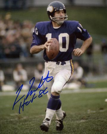Fran Tarkenton Minnesota Vikings Autographed Photo (Hand Signed Collectable)
