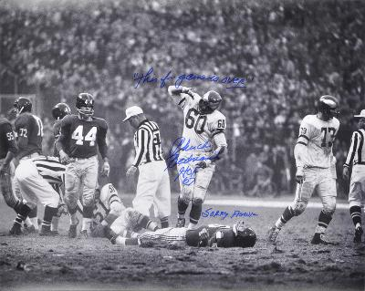 """Bednarik over Gifford HOF 67 """"This f… Game is OVER!"""" Autographed Photo (Hand Signed Collectable)"""