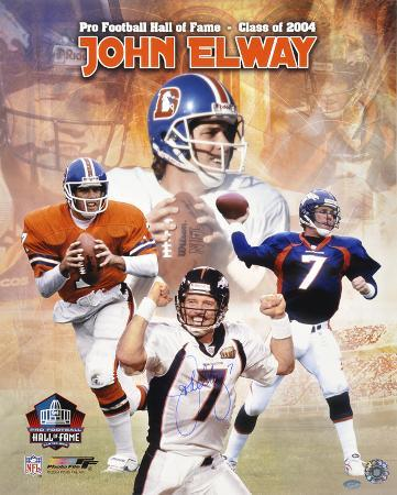 John Elway Denver Broncos Hall Of Fame 2004 Collage Autographed Photo (Hand Signed Collectable)