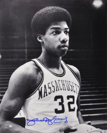 Julius Erving Massachusetts Minutemen B&W Autographed Photo (Hand Signed Collectable)