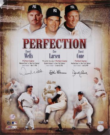 Don Larsen, David Cone & David Wells New York Yankees Autographed Photo (Hand Signed Collectable)