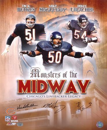Bears Monsters...Midway Butkus, Singletary, Urlacher Autographed Photo (Hand Signed Collectable)