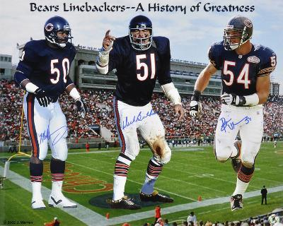 Dick Butkus, Brian Urlacher & Mike Singletary Bears Autographed Photo (Hand Signed Collectable)