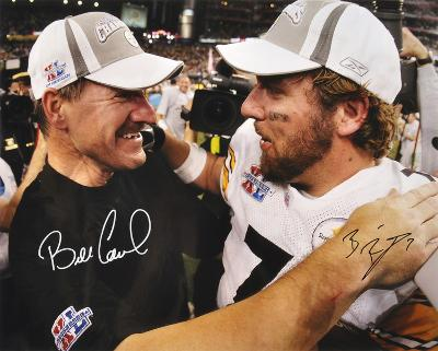 Bill Cowher & Ben Roethlisberger SB PittsburgSteelers SB Autographed Photo (H& Signed Collectable)