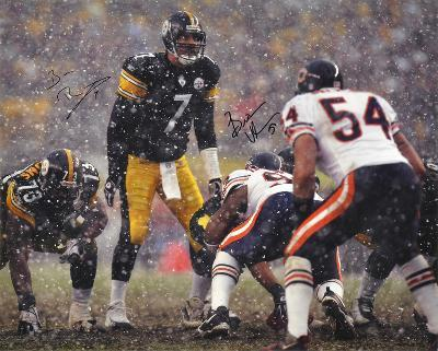 Ben Roethlisberger SB & Brian Urlacher In the Snow Dual Autographed Photo (H& Signed Collectable)