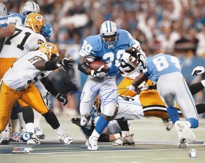Barry Sanders Detroit Lions Action Running vs. Packers Autographed Photo (Hand Signed Collectable)